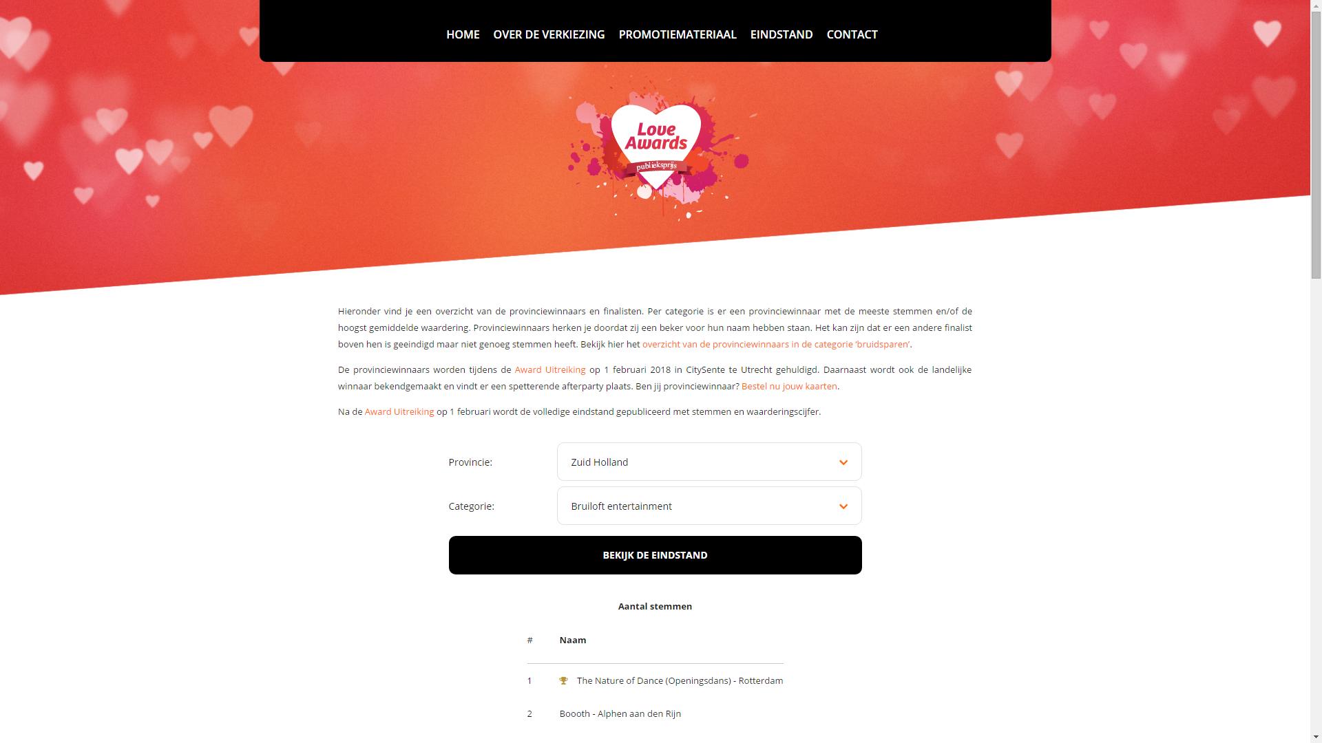 Winaar Love Awards Publieksprijs categorie Bruiloft Entertainment